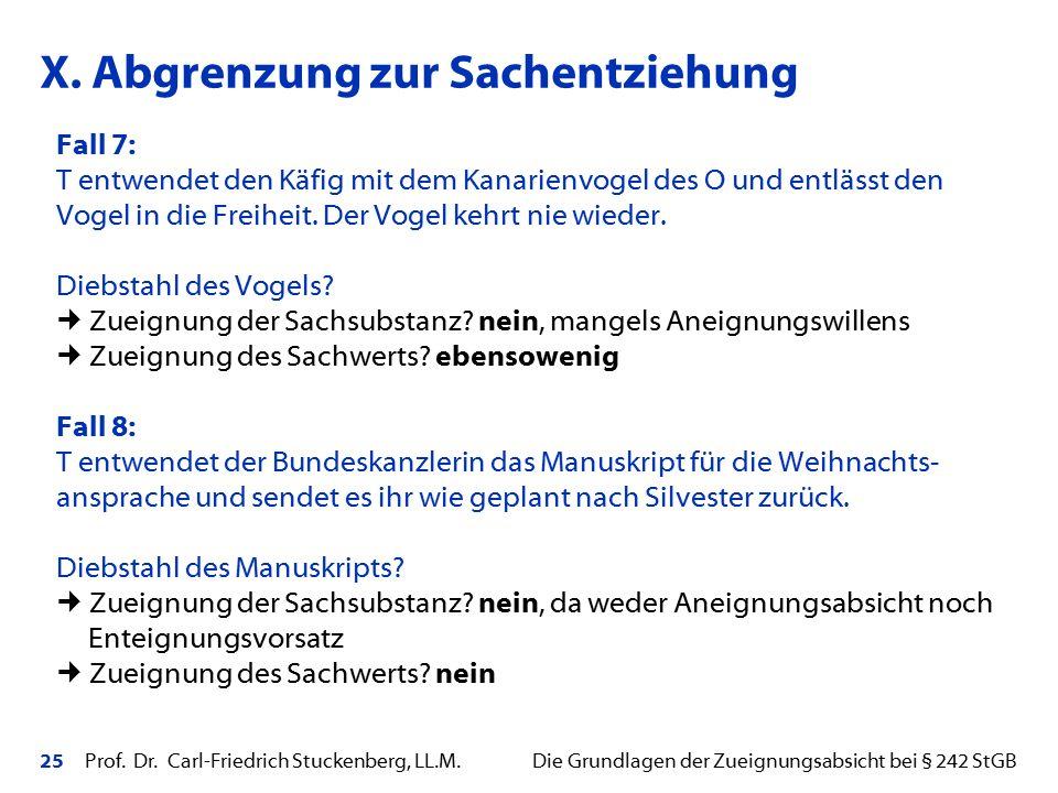 25 Prof. Dr. Carl-Friedrich Stuckenberg, LL.M. Die Grundlagen der Zueignungsabsicht bei § 242 StGB Fall 7: T entwendet den Käfig mit dem Kanarienvogel