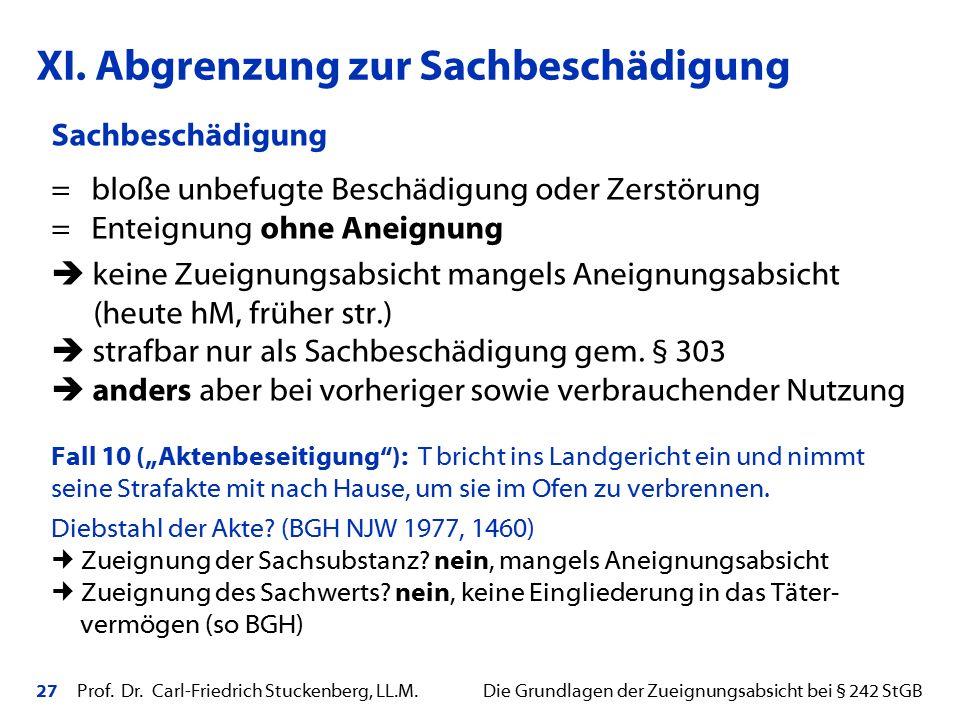 27 Prof. Dr. Carl-Friedrich Stuckenberg, LL.M. Die Grundlagen der Zueignungsabsicht bei § 242 StGB Sachbeschädigung = bloße unbefugte Beschädigung ode