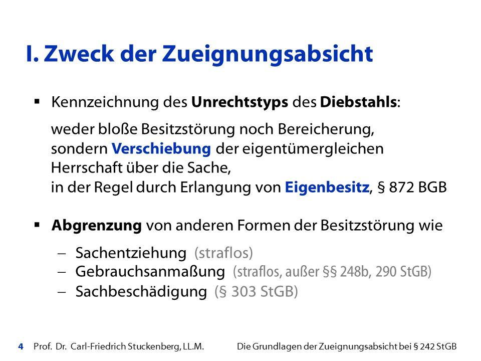 4 Prof. Dr. Carl-Friedrich Stuckenberg, LL.M. Die Grundlagen der Zueignungsabsicht bei § 242 StGB I. Zweck der Zueignungsabsicht  Kennzeichnung des U