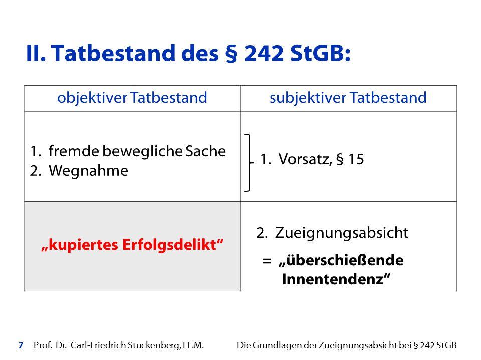 7 Prof. Dr. Carl-Friedrich Stuckenberg, LL.M. Die Grundlagen der Zueignungsabsicht bei § 242 StGB II. Tatbestand des § 242 StGB: objektiver Tatbestand