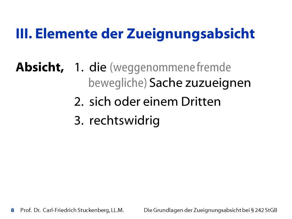 8 Prof. Dr. Carl-Friedrich Stuckenberg, LL.M. Die Grundlagen der Zueignungsabsicht bei § 242 StGB Absicht,1. die (weggenommene fremde bewegliche) Sach