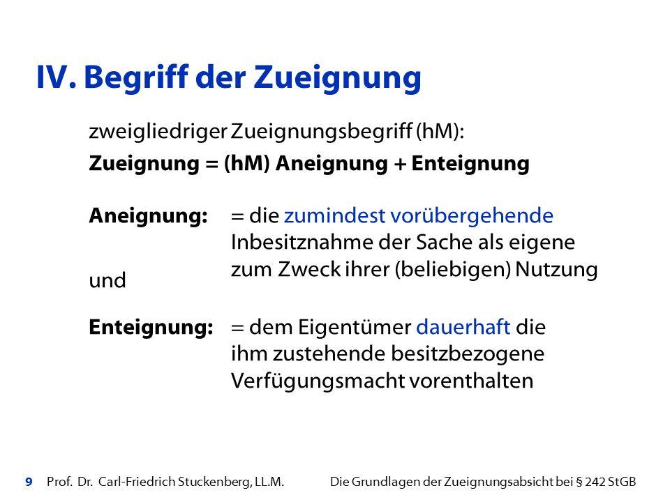 9 Prof. Dr. Carl-Friedrich Stuckenberg, LL.M. Die Grundlagen der Zueignungsabsicht bei § 242 StGB zweigliedriger Zueignungsbegriff (hM): Zueignung = (