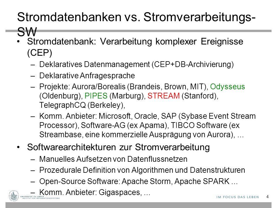 25 STREAM: Stanford Stream Data Manager DSMS für Ströme und statische Daten Zeitstempel implizit vergeben (Systemzeit) Relationale Modellierung ergänzt um Stromkonzept Zentralisiertes Servermodell CQL: Deklarative Sprache für registrierte kontinuierliche Anfragen über Strömen und statischen Relationen A.