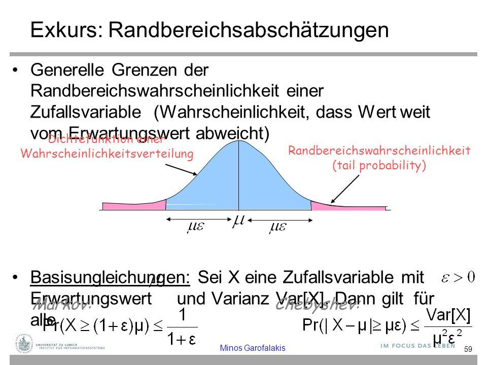 Exkurs: Randbereichsabschätzungen Generelle Grenzen der Randbereichswahrscheinlichkeit einer Zufallsvariable (Wahrscheinlichkeit, dass Wert weit vom Erwartungswert abweicht) Basisungleichungen: Sei X eine Zufallsvariable mit Erwartungswert und Varianz Var[X].