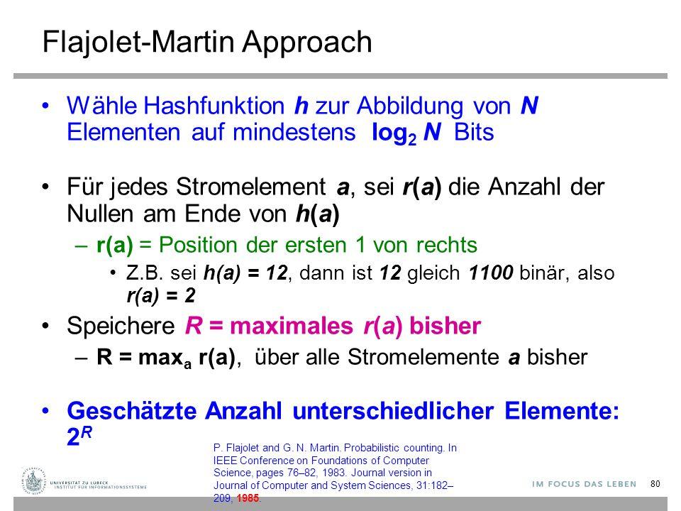 Flajolet-Martin Approach Wähle Hashfunktion h zur Abbildung von N Elementen auf mindestens log 2 N Bits Für jedes Stromelement a, sei r(a) die Anzahl der Nullen am Ende von h(a) –r(a) = Position der ersten 1 von rechts Z.B.