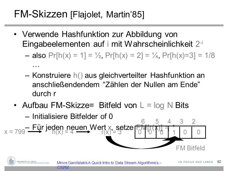 0 FM-Skizzen [Flajolet, Martin'85] Verwende Hashfunktion zur Abbildung von Eingabeelementen auf i mit Wahrscheinlichkeit 2 -i –also Pr[h(x) = 1] = ½, Pr[h(x) = 2] = ¼, Pr[h(x)=3] = 1/8 … –Konstruiere h() aus gleichverteilter Hashfunktion an anschließendendem Zählen der Nullen am Ende durch r Aufbau FM-Skizze= Bitfeld von L = log N Bits –Initialisiere Bitfelder of 0 –Für jeden neuen Wert x, setze FM[r(x)] = 1 x = 799h(x) = 4 00 000 1 FM Bitfeld 6 5 4 3 2 1 82 Minos Garofalakis A Quick Intro to Data Stream Algorithmics – CS262 r(x) = 3