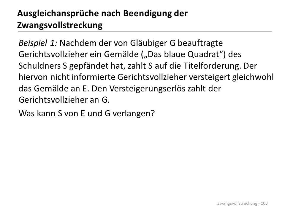 """Ausgleichansprüche nach Beendigung der Zwangsvollstreckung Beispiel 1: Nachdem der von Gläubiger G beauftragte Gerichtsvollzieher ein Gemälde (""""Das bl"""