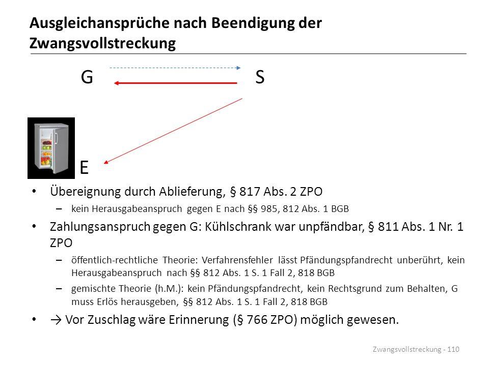 Ausgleichansprüche nach Beendigung der Zwangsvollstreckung G S E Übereignung durch Ablieferung, § 817 Abs. 2 ZPO – kein Herausgabeanspruch gegen E nac