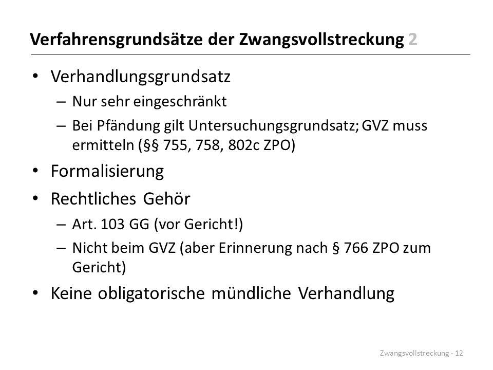 Verfahrensgrundsätze der Zwangsvollstreckung 2 Verhandlungsgrundsatz – Nur sehr eingeschränkt – Bei Pfändung gilt Untersuchungsgrundsatz; GVZ muss erm