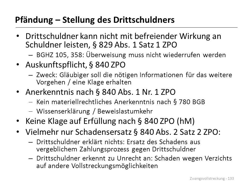 Pfändung – Stellung des Drittschuldners Drittschuldner kann nicht mit befreiender Wirkung an Schuldner leisten, § 829 Abs. 1 Satz 1 ZPO – BGHZ 105, 35