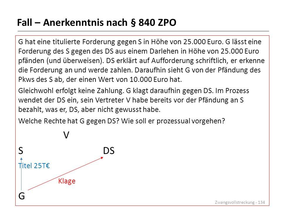 Fall – Anerkenntnis nach § 840 ZPO G hat eine titulierte Forderung gegen S in Höhe von 25.000 Euro. G lässt eine Forderung des S gegen des DS aus eine