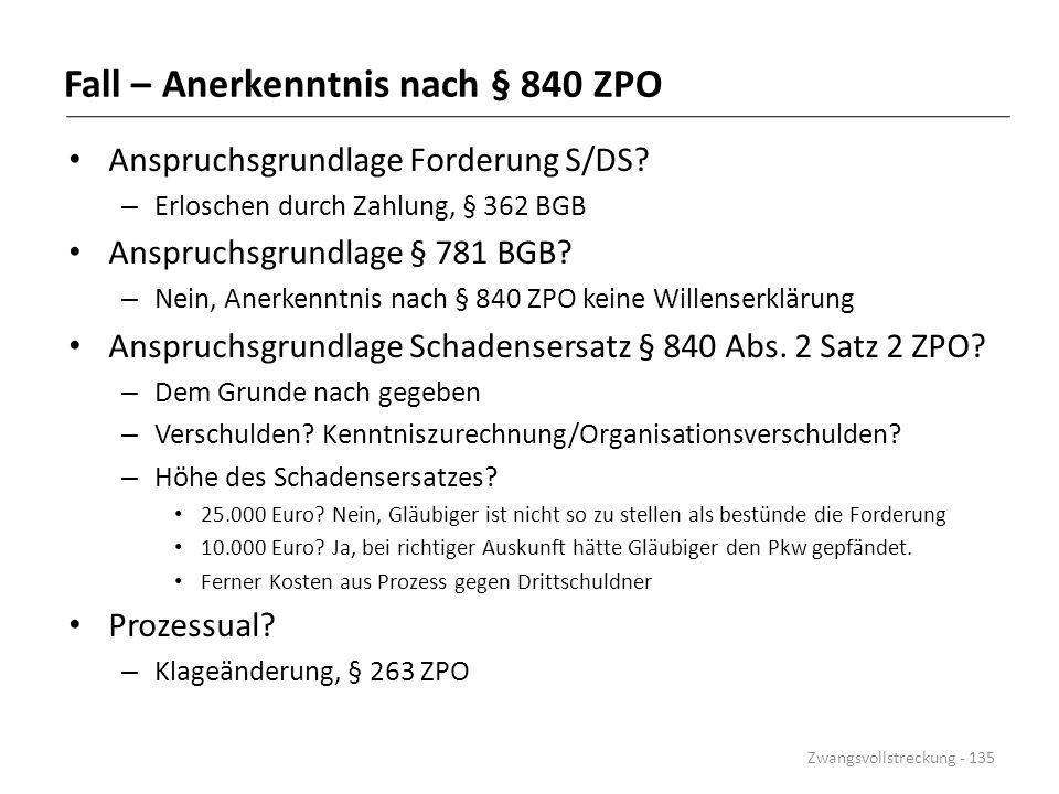 Fall – Anerkenntnis nach § 840 ZPO Anspruchsgrundlage Forderung S/DS? – Erloschen durch Zahlung, § 362 BGB Anspruchsgrundlage § 781 BGB? – Nein, Anerk