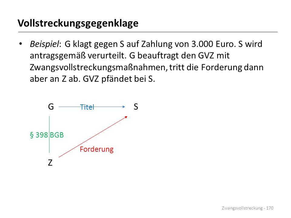 Vollstreckungsgegenklage Beispiel: G klagt gegen S auf Zahlung von 3.000 Euro. S wird antragsgemäß verurteilt. G beauftragt den GVZ mit Zwangsvollstre