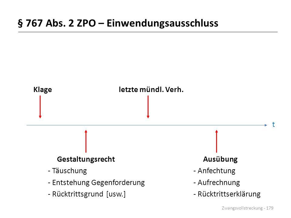 § 767 Abs. 2 ZPO – Einwendungsausschluss Klage letzte mündl. Verh. t Gestaltungsrecht Ausübung - Täuschung- Anfechtung - Entstehung Gegenforderung- Au