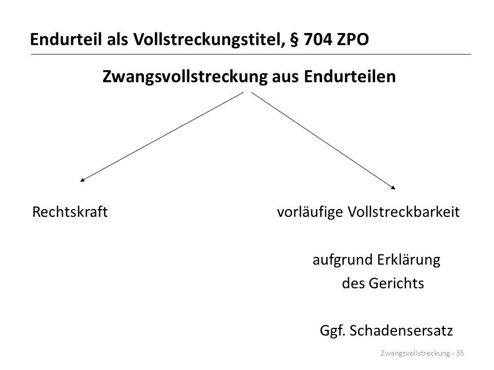 Endurteil als Vollstreckungstitel, § 704 ZPO Zwangsvollstreckung aus Endurteilen Rechtskraft vorläufige Vollstreckbarkeit aufgrund Erklärung des Geric