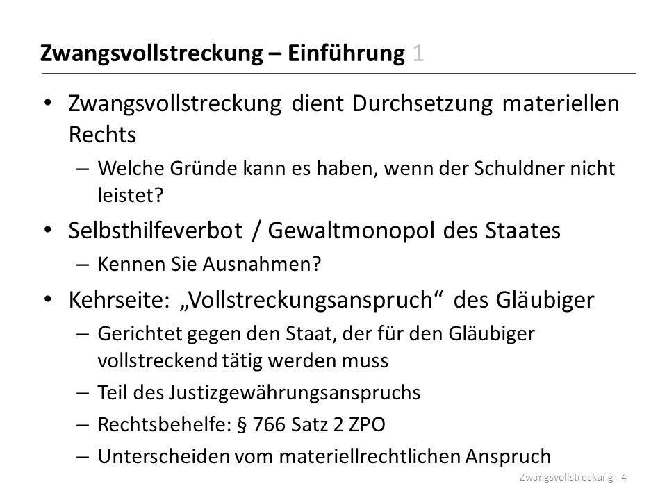"""Vollstreckung von """"Individualansprüchen Individualvollstreckung – Zwangsvollstreckung wegen """"sonstiger Ansprüche – Andere als Geldforderungen Individualansprüche sind: – Herausgabe (§§ 883 – 886 ZPO) – Verhalten (§§ 887 – 898 ZPO) – Abgabe einer Willenserklärung (§ 894 ZPO) Nach deutschem Recht ist der Primäranspruch durchsetzbar – § 893 ZPO stellt klar, dass Sekundäranspruch unberührt bleibt Zwangsvollstreckung - 155"""