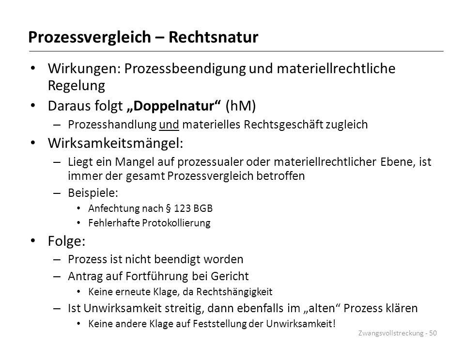 """Prozessvergleich – Rechtsnatur Wirkungen: Prozessbeendigung und materiellrechtliche Regelung Daraus folgt """"Doppelnatur"""" (hM) – Prozesshandlung und mat"""