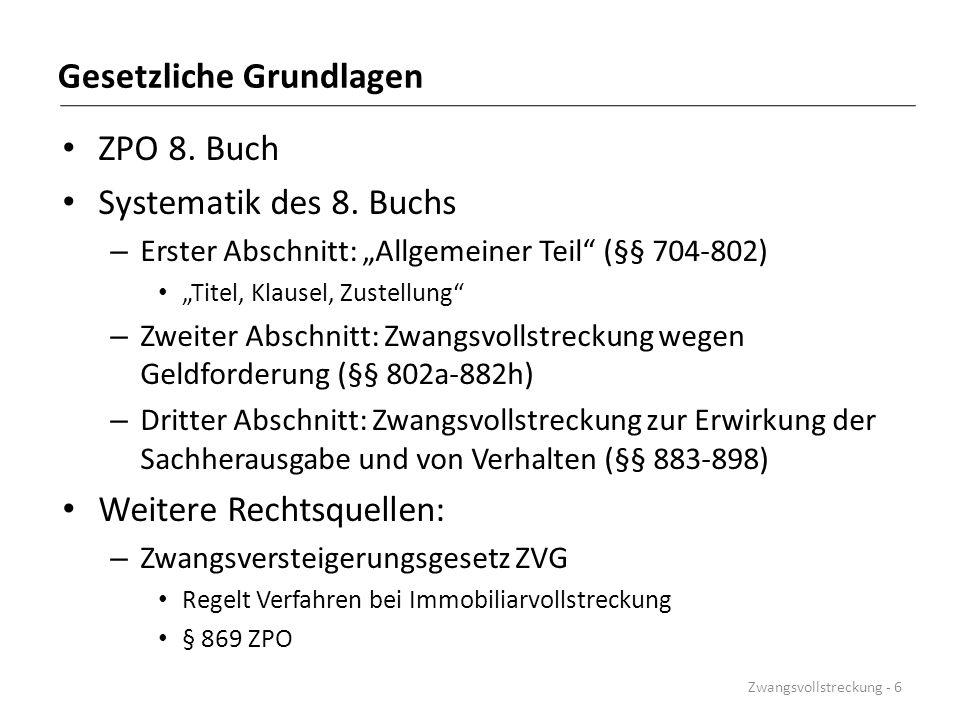 Pfändungspfandrechtstheorien Beispiel: Wegen eines titulierten Zahlungsanspruchs des Gläubigers G1 iHv.