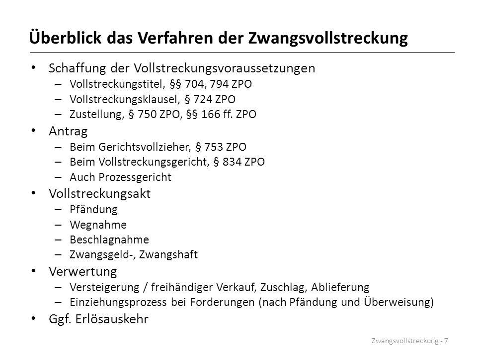 Ausgleichansprüche nach Beendigung der Zwangsvollstreckung BGHZ 58, 207 Schadensersatz des Gläubigers wegen Nichtfreigabe.