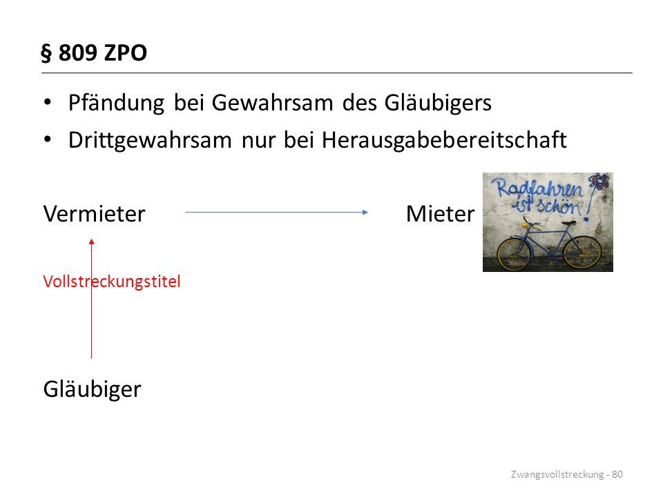 § 809 ZPO Pfändung bei Gewahrsam des Gläubigers Drittgewahrsam nur bei Herausgabebereitschaft Vermieter Mieter Vollstreckungstitel Gläubiger Zwangsvol