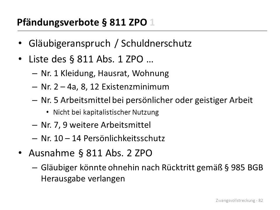 Pfändungsverbote § 811 ZPO 1 Gläubigeranspruch / Schuldnerschutz Liste des § 811 Abs. 1 ZPO … – Nr. 1 Kleidung, Hausrat, Wohnung – Nr. 2 – 4a, 8, 12 E