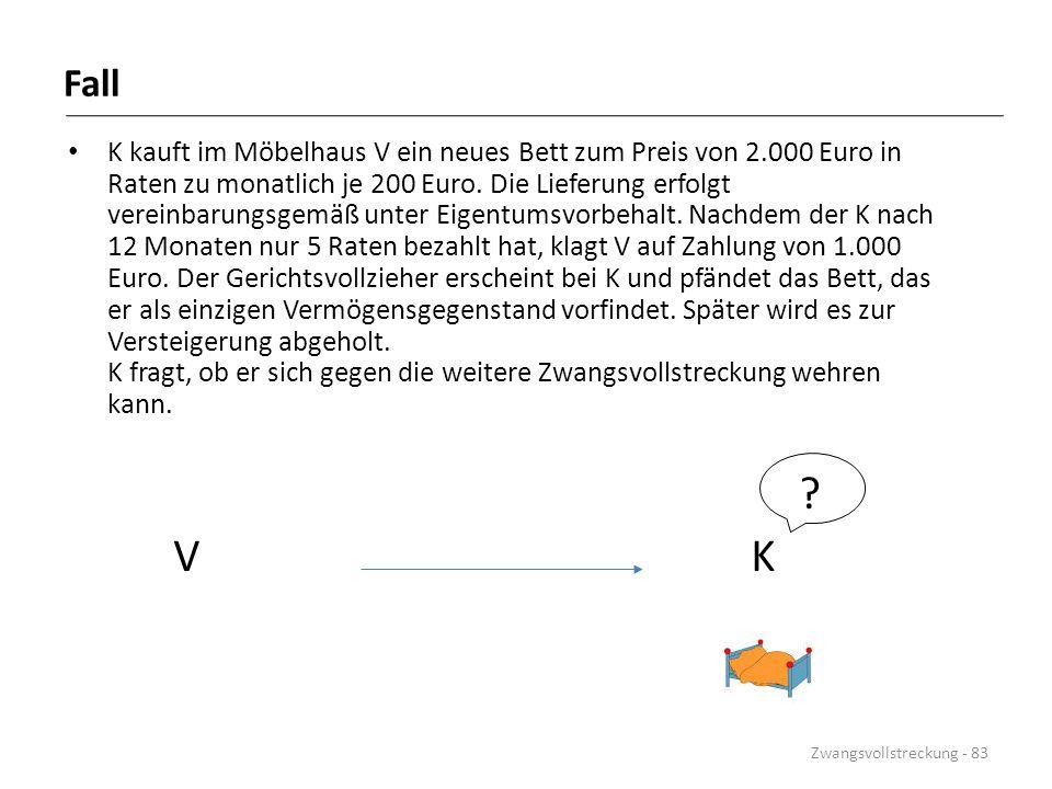 K kauft im Möbelhaus V ein neues Bett zum Preis von 2.000 Euro in Raten zu monatlich je 200 Euro. Die Lieferung erfolgt vereinbarungsgemäß unter Eigen