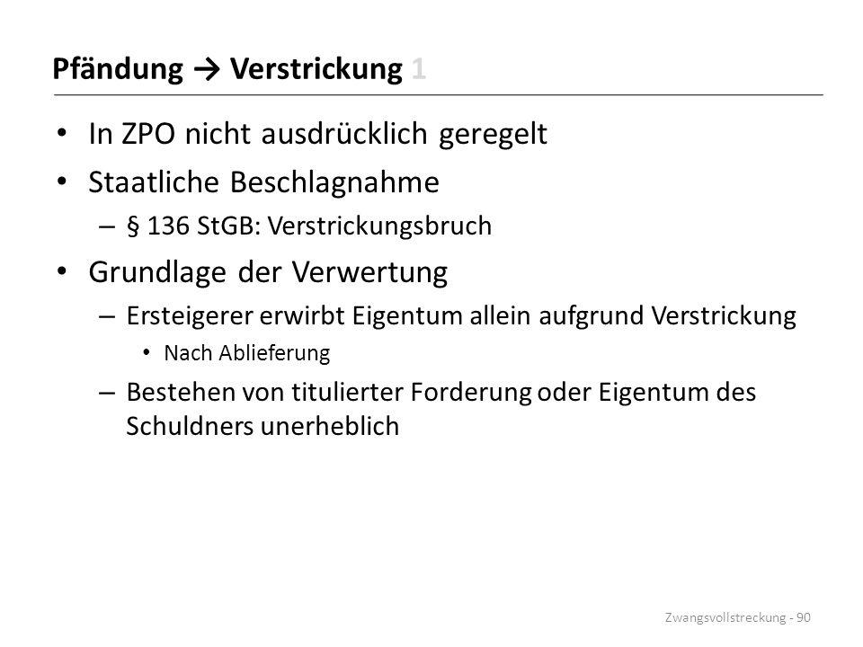 Pfändung → Verstrickung 1 In ZPO nicht ausdrücklich geregelt Staatliche Beschlagnahme – § 136 StGB: Verstrickungsbruch Grundlage der Verwertung – Erst