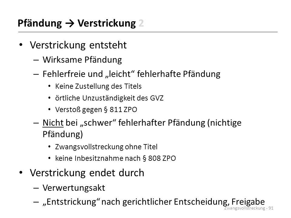 """Pfändung → Verstrickung 2 Verstrickung entsteht – Wirksame Pfändung – Fehlerfreie und """"leicht"""" fehlerhafte Pfändung Keine Zustellung des Titels örtlic"""