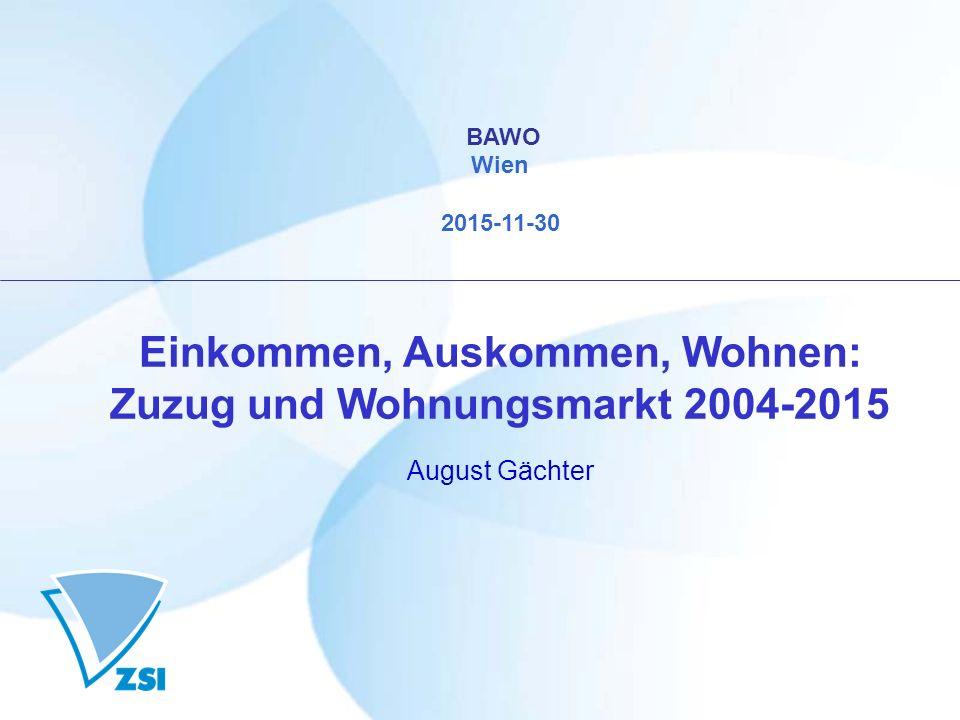 BAWO Wien 2015-11-30 Einkommen, Auskommen, Wohnen: Zuzug und Wohnungsmarkt 2004-2015 August Gächter