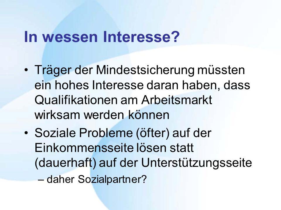 In wessen Interesse? Träger der Mindestsicherung müssten ein hohes Interesse daran haben, dass Qualifikationen am Arbeitsmarkt wirksam werden können S