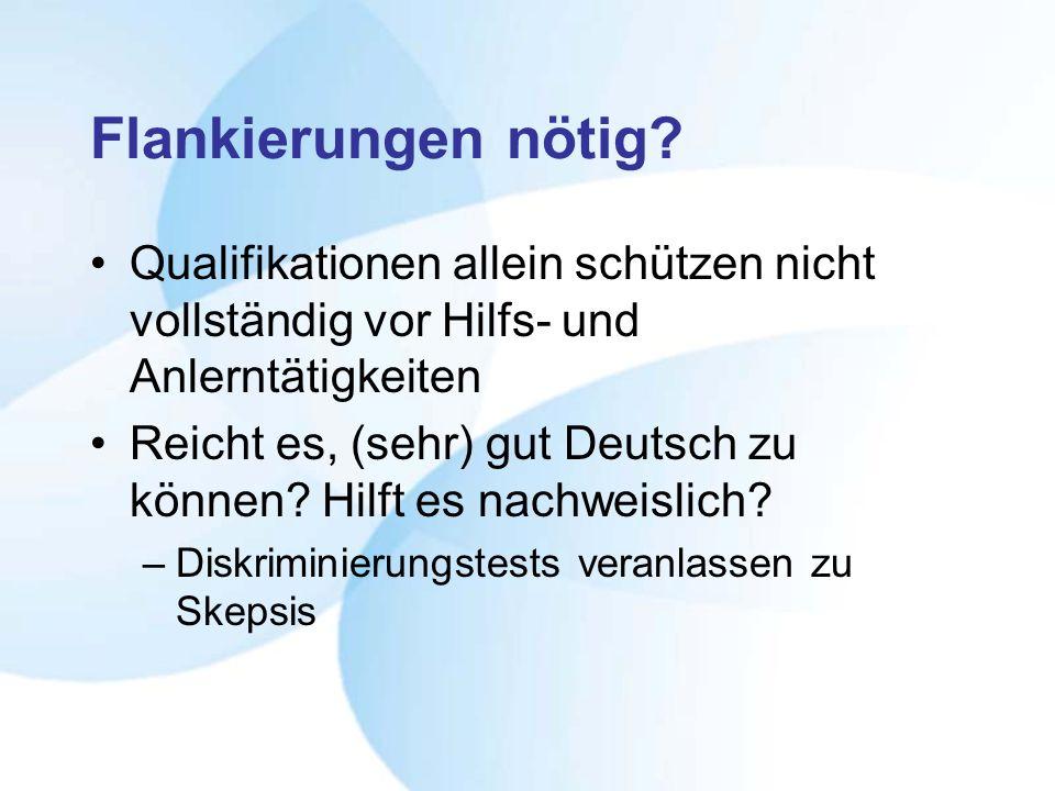 Flankierungen nötig? Qualifikationen allein schützen nicht vollständig vor Hilfs- und Anlerntätigkeiten Reicht es, (sehr) gut Deutsch zu können? Hilft