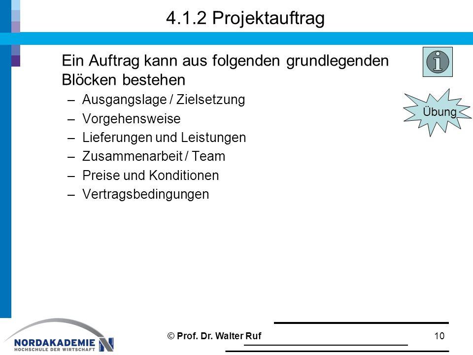 4.1.2 Projektauftrag Ein Auftrag kann aus folgenden grundlegenden Blöcken bestehen –Ausgangslage / Zielsetzung –Vorgehensweise –Lieferungen und Leistungen –Zusammenarbeit / Team –Preise und Konditionen –Vertragsbedingungen 10© Prof.