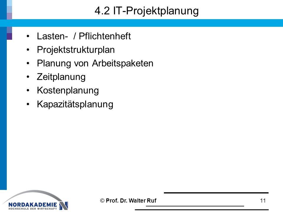 4.2 IT-Projektplanung Lasten- / Pflichtenheft Projektstrukturplan Planung von Arbeitspaketen Zeitplanung Kostenplanung Kapazitätsplanung 11© Prof.