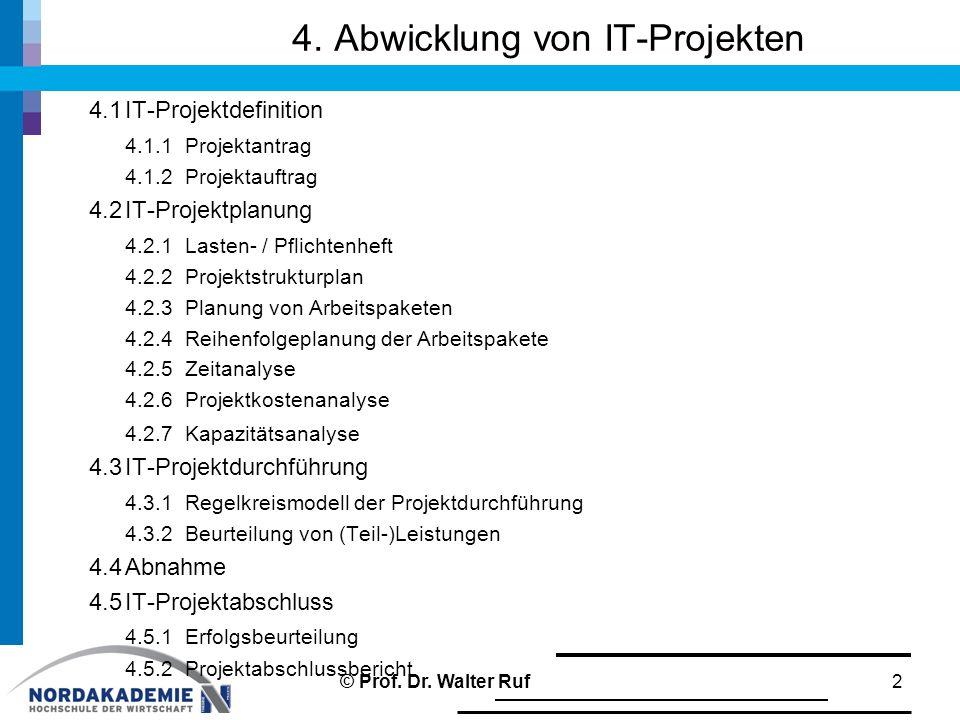 4. Abwicklung von IT-Projekten 4.1IT-Projektdefinition 4.1.1Projektantrag 4.1.2Projektauftrag 4.2IT-Projektplanung 4.2.1Lasten- / Pflichtenheft 4.2.2P