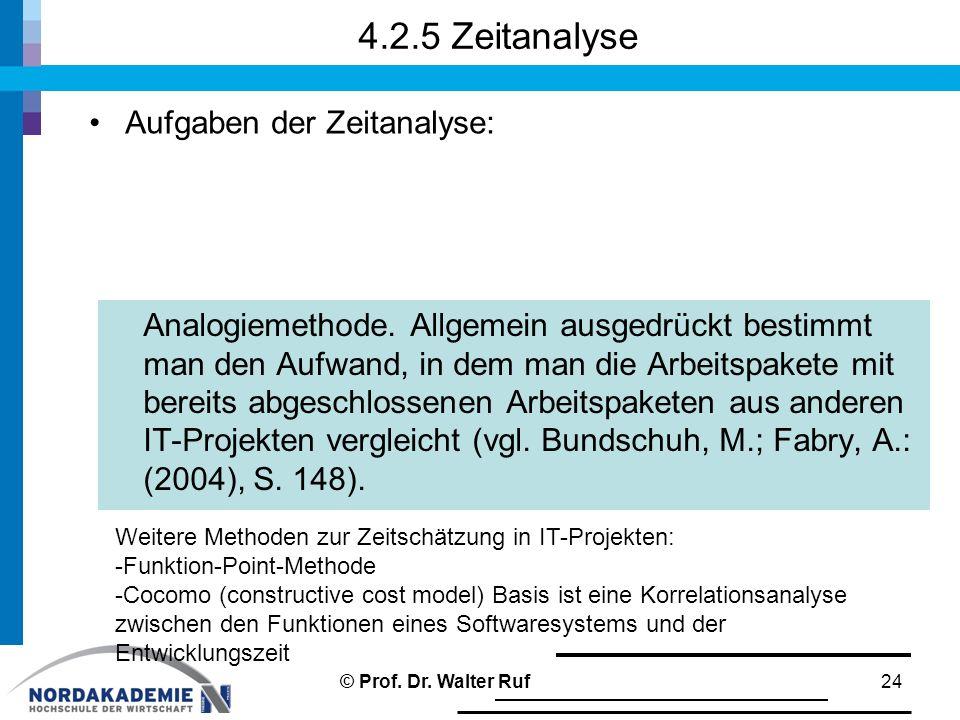 4.2.5 Zeitanalyse 24 Aufgaben der Zeitanalyse: Analogiemethode.