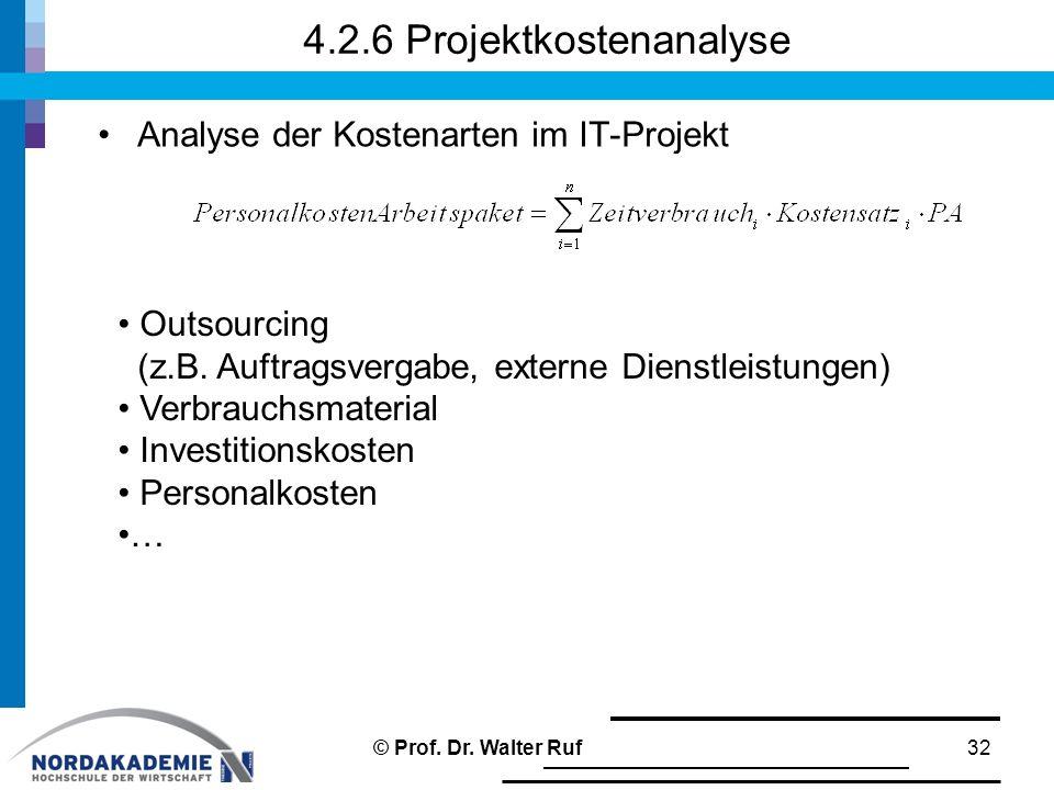 4.2.6 Projektkostenanalyse Analyse der Kostenarten im IT-Projekt 32 Outsourcing (z.B.