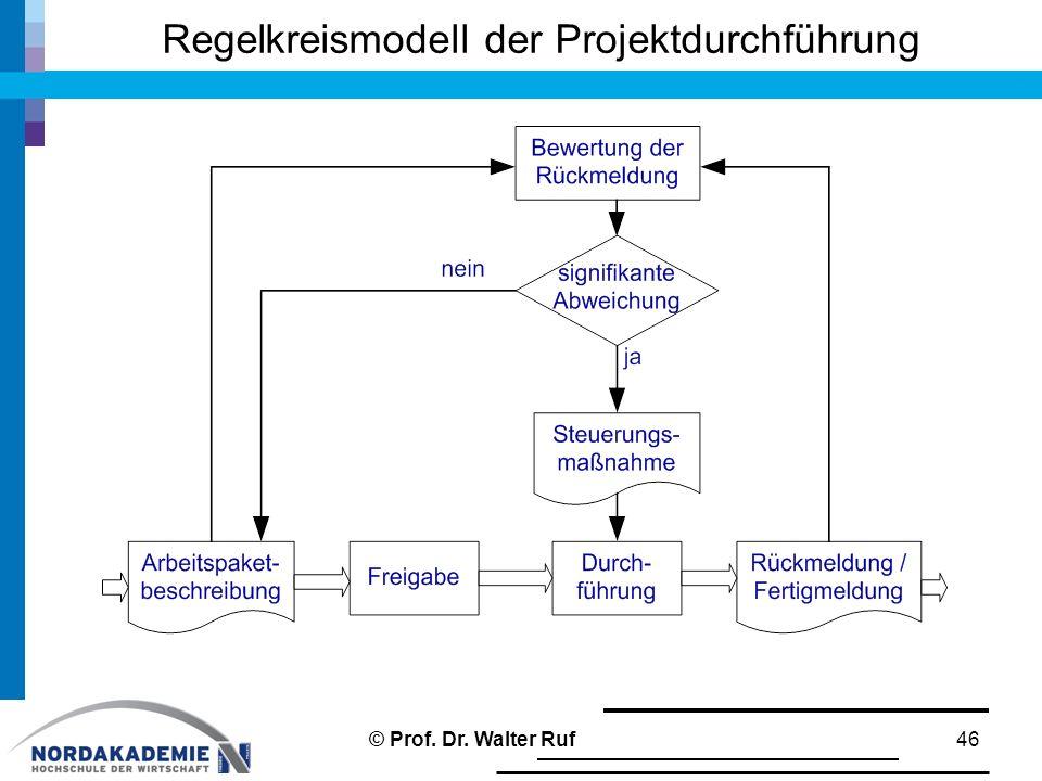 Regelkreismodell der Projektdurchführung 46© Prof. Dr. Walter Ruf
