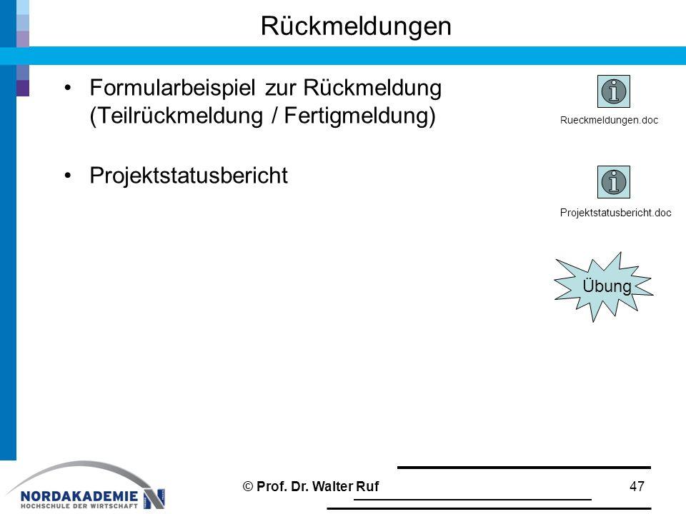 Rückmeldungen Formularbeispiel zur Rückmeldung (Teilrückmeldung / Fertigmeldung) Projektstatusbericht 47© Prof.