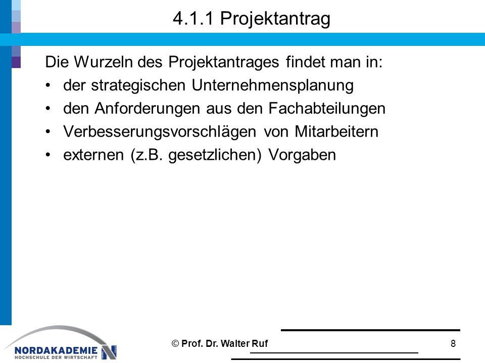 4.1.1 Projektantrag Die Wurzeln des Projektantrages findet man in: der strategischen Unternehmensplanung den Anforderungen aus den Fachabteilungen Verbesserungsvorschlägen von Mitarbeitern externen (z.B.