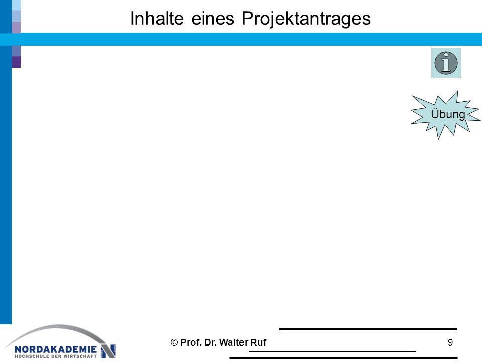 Inhalte eines Projektantrages 9© Prof. Dr. Walter Ruf Übung