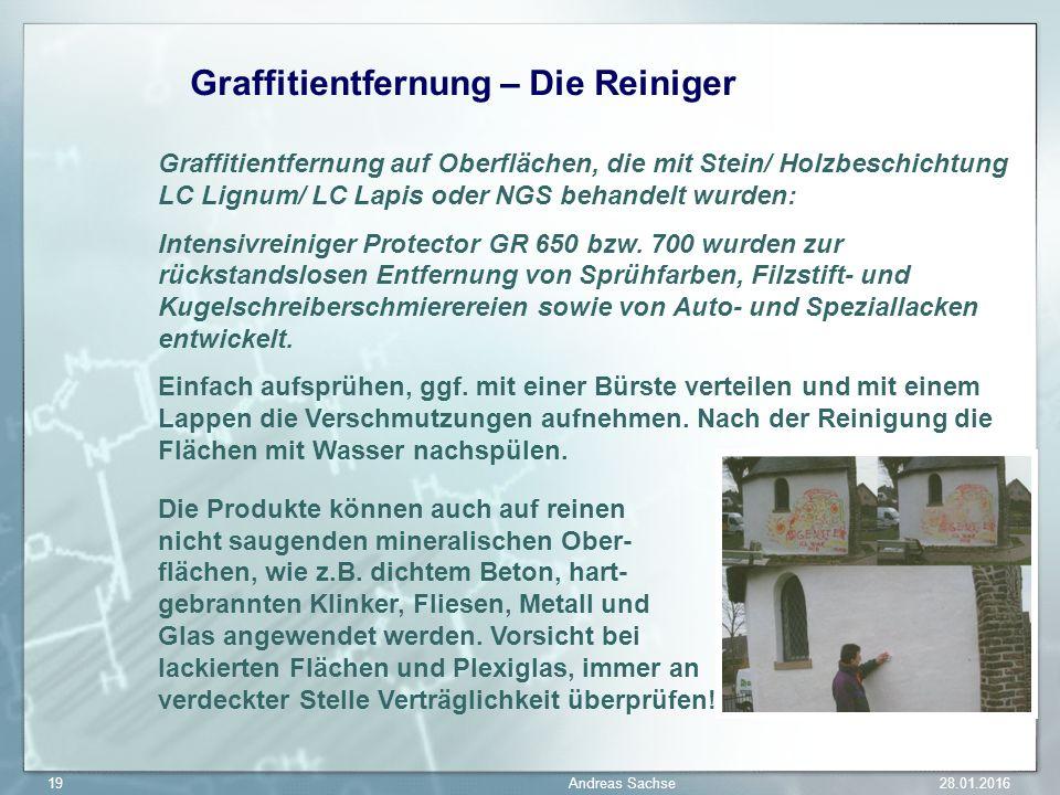 Graffitientfernung – Die Reiniger Graffitientfernung auf Oberflächen, die mit Stein/ Holzbeschichtung LC Lignum/ LC Lapis oder NGS behandelt wurden: Intensivreiniger Protector GR 650 bzw.