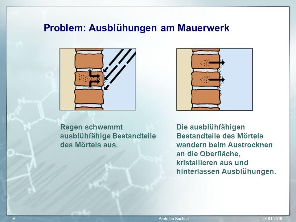 Problem: Ausblühungen am Mauerwerk Regen schwemmt ausblühfähige Bestandteile des Mörtels aus. Die ausblühfähigen Bestandteile des Mörtels wandern beim