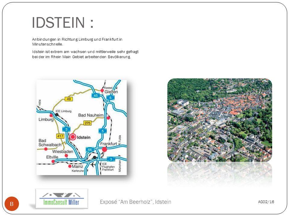 IDSTEIN : Anbindungen in Richtung Limburg und Frankfurt in Minutenschnelle.