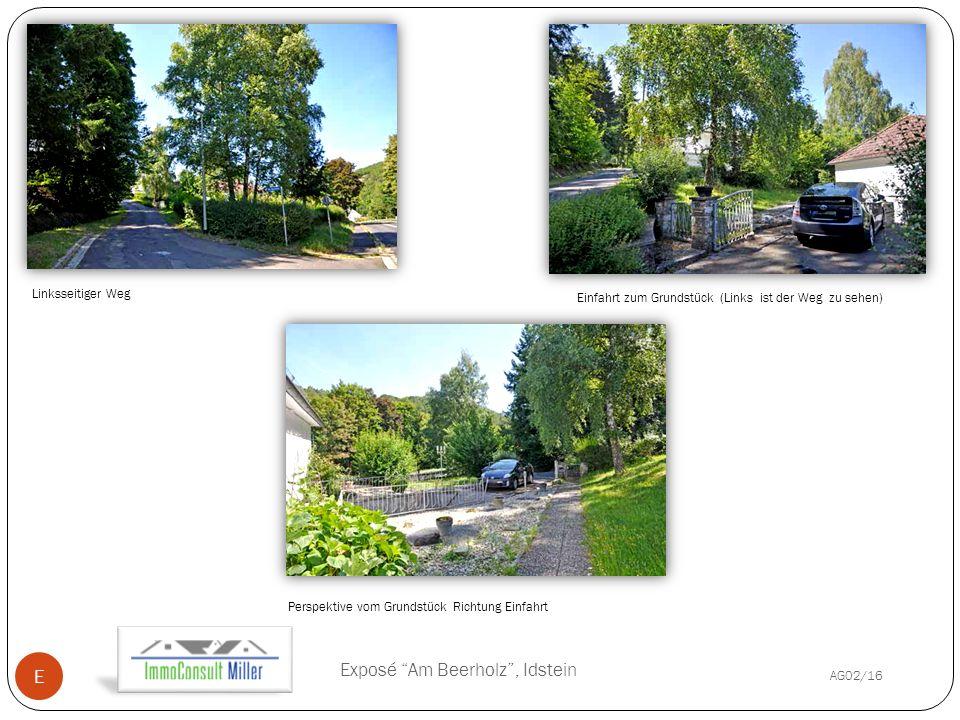 Initials/YYYY-MM-D AG02/16 D Exposé Am Beerholz , Idstein E Einfahrt zum Grundstück (Links ist der Weg zu sehen) Linksseitiger Weg Perspektive vom Grundstück Richtung Einfahrt