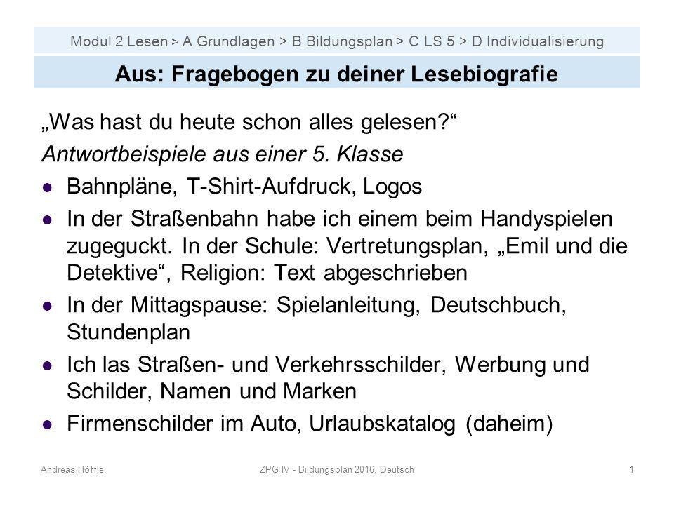 Modul 2 Lesen > A Grundlagen > B Bildungsplan > C Individualisierung Andreas HöffleZPG IV - Bildungsplan 2016, Deutsch2 Gliederung B Bildungsplan 1.