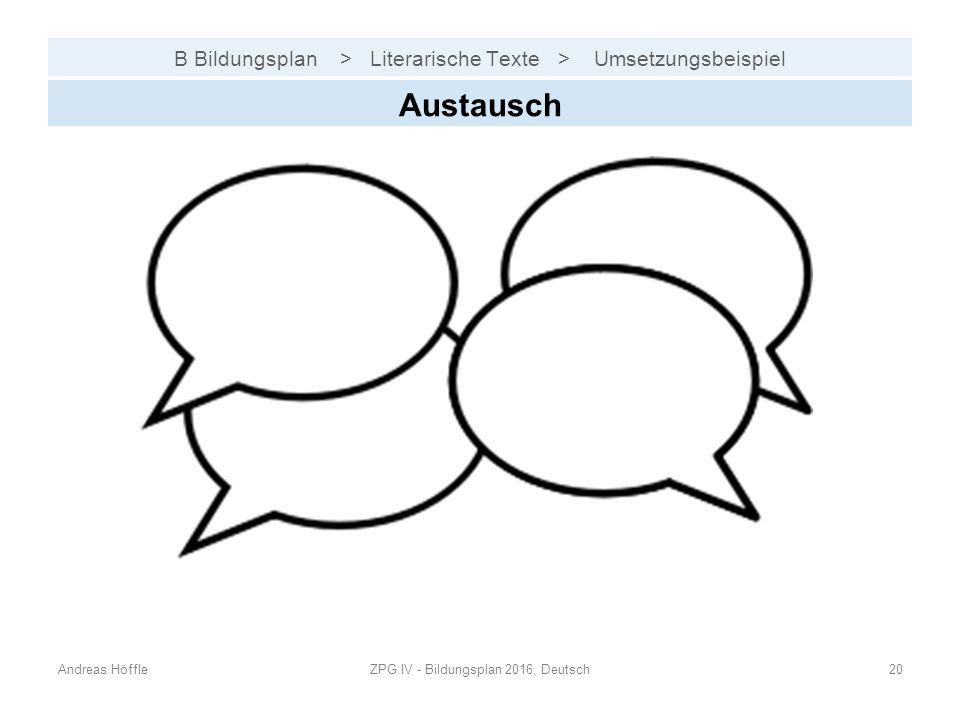 B Bildungsplan > Literarische Texte > Umsetzungsbeispiel Andreas HöffleZPG IV - Bildungsplan 2016, Deutsch20 Austausch