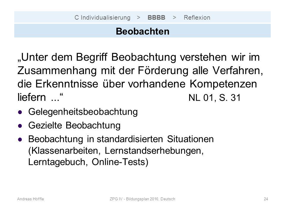 """C Individualisierung > BBBB > Reflexion Andreas HöffleZPG IV - Bildungsplan 2016, Deutsch24 Beobachten """"Unter dem Begriff Beobachtung verstehen wir im Zusammenhang mit der Förderung alle Verfahren, die Erkenntnisse über vorhandene Kompetenzen liefern... NL 01, S."""