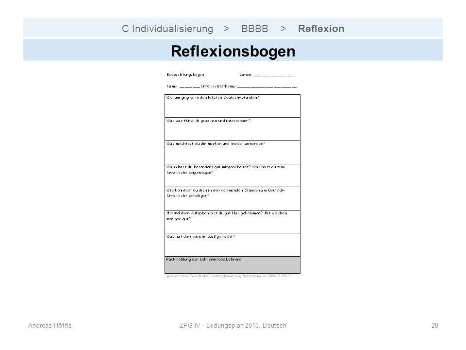 C Individualisierung > BBBB > Reflexion Andreas HöffleZPG IV - Bildungsplan 2016, Deutsch28 Reflexionsbogen