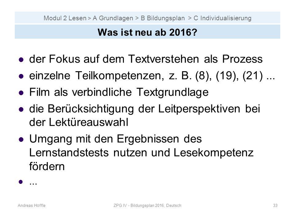 Modul 2 Lesen > A Grundlagen > B Bildungsplan > C Individualisierung Andreas HöffleZPG IV - Bildungsplan 2016, Deutsch33 Was ist neu ab 2016.