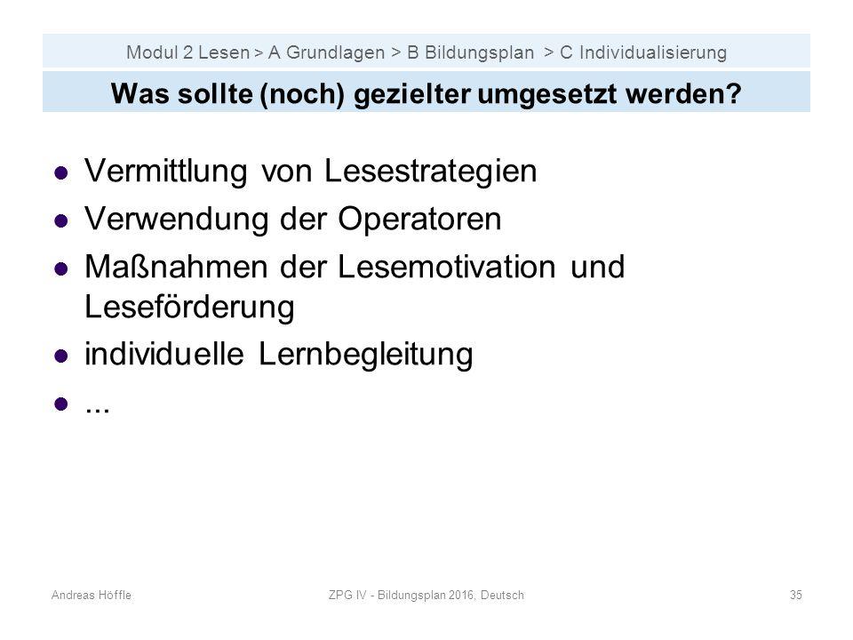 Modul 2 Lesen > A Grundlagen > B Bildungsplan > C Individualisierung Andreas HöffleZPG IV - Bildungsplan 2016, Deutsch35 Was sollte (noch) gezielter umgesetzt werden.